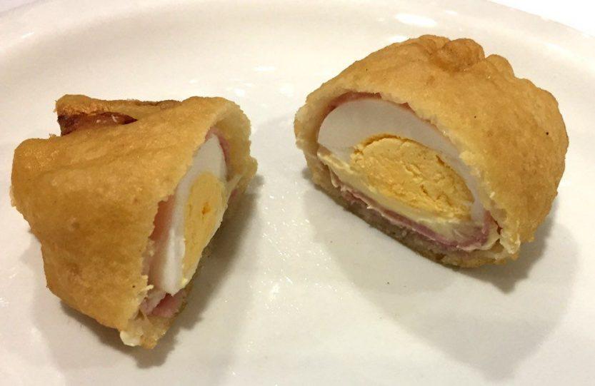 Batter of egg, cheese and ham